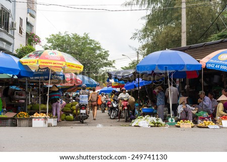 Vinh Long, Vietnam - Nov 30, 2014: Front view of Vinh Long fruit market