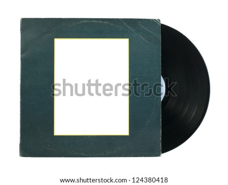 Vinil Record and cover white isolated - stock photo