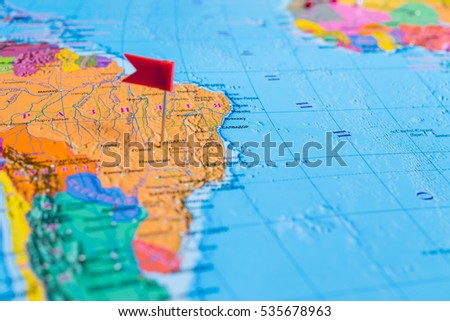 Vinnitsa, Ukraine - December 6, 2016: The world map, abstract background, travel concept