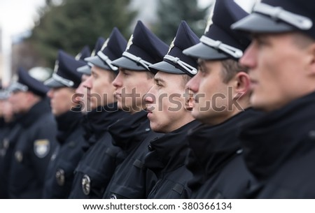 VINNITSA, UKRAINE - Feb 22, 2016: The ceremony taking an oath by the members of the new patrol police in Vinnitsa