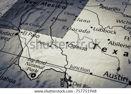 Vinnitsa, Ukraine - January 15 , 2017: Close up of Texas map  - Travel concept
