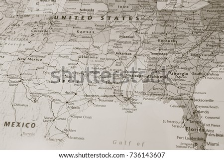 Vinnitsa, Ukraine - June 25 , 2017:South USA States on the map