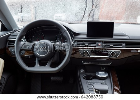 Vinnitsa, Ukraine - May 14, 2017. Audi A5 Sportback car.logo Audi, quattro system, sportcar, luxury car,sport sedan, modern car. Presentation Audi A5 Sportback.Inside the car,steering wheel,interior