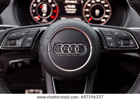 Vinnitsa, Ukraine - May 14, 2017. Audi Q2 concept car.Audi Q2 presentation. logo Audi,diesel, TFSI motor, showroom, modern car. Presentation - Audi Q2.Inside the car,steering wheel,interior of the car