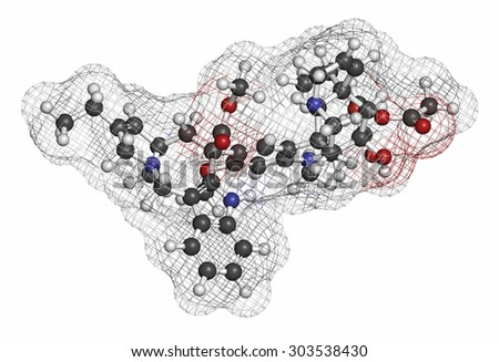 Vinorelbine (NVB) cancer chemotherapy drug molecule. Atoms are represented as spheres with conventional color coding: hydrogen (white), carbon (grey), oxygen (red), nitrogen (blue).  - stock photo