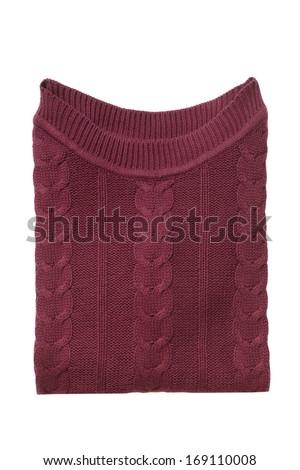Vinous folded sweater isolated on white - stock photo