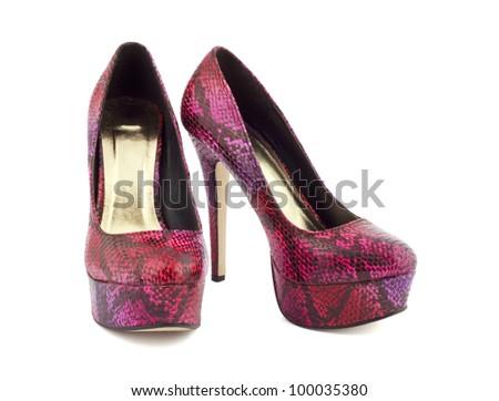 Vinous puple shoes. High heel. - stock photo
