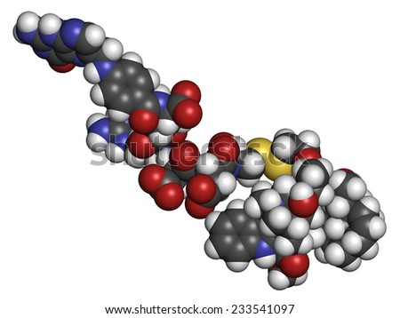 Vintafolide cancer drug molecule. Atoms are represented as spheres with conventional color coding: hydrogen (white), carbon (grey), oxygen (red), nitrogen (blue), sulfur (yellow).