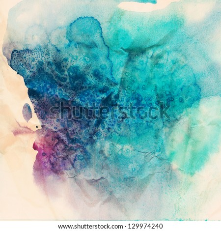 Vintage abstract hand drawn watercolor background, raster illustration, stain watercolors colors wet on wet paper - stock photo