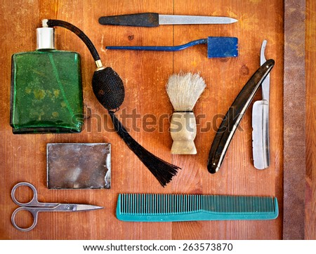 Vintage accessories for shaving. Buffet barber - stock photo