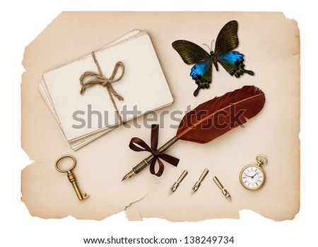 vintage accessories, old letters and antique paper. nostalgic sentimental background with butterfly - stock photo