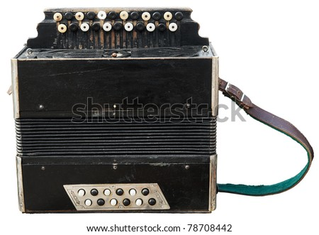 Vintage accordion (bayan) isolated on white. Clipping path included - stock photo