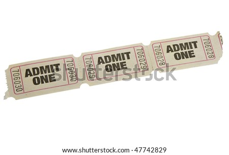 vintage admit one tickets close up - stock photo