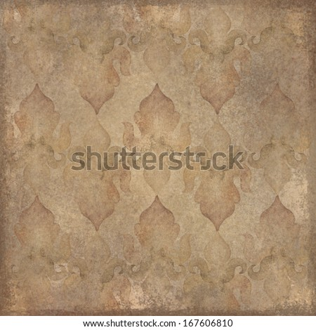 vintage aged paper background with oriental pattern - stock photo