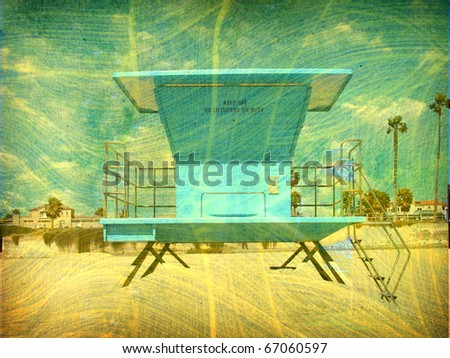 vintage aged photo of lifeguard tower on beach - stock photo