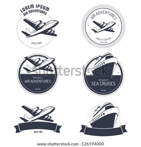 Vintage air and cruise tours labels and badges - stock photo