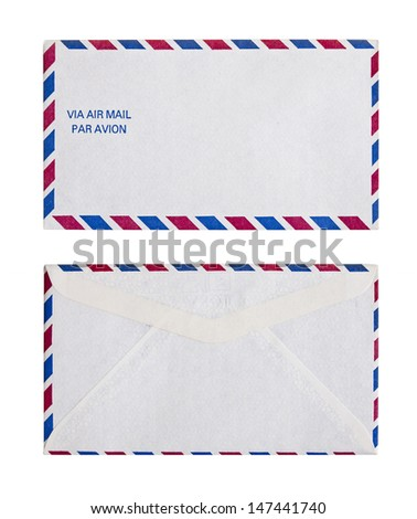 Vintage Air Mail Envelope front and back - stock photo