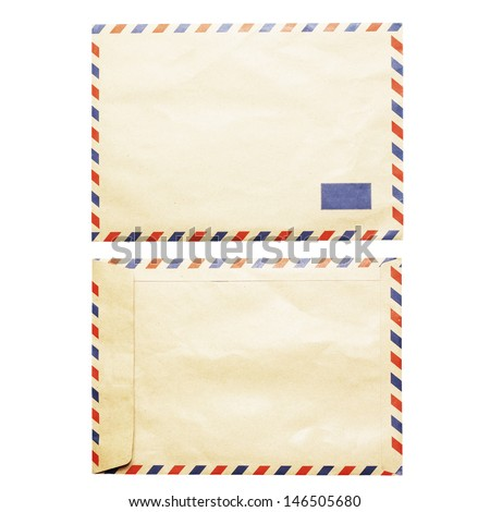 vintage air mail envelope front and back view isolated on white