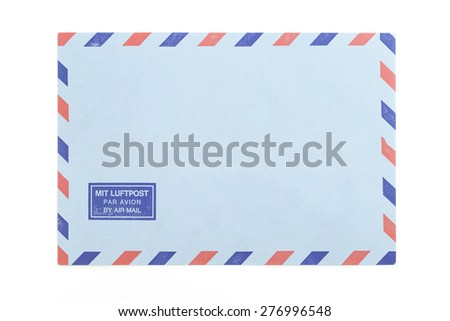 vintage air mail envelope over white background
