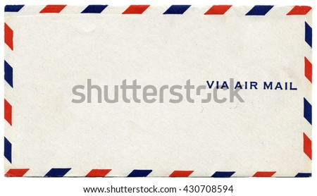 Vintage air mail envelope with text - stock photo