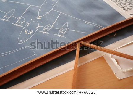 vintage aircraft blueprints - stock photo
