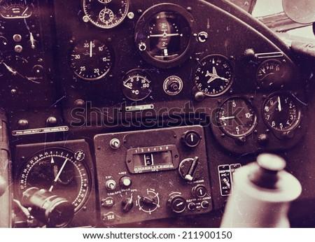 Vintage aircraft cockpit detail - stock photo