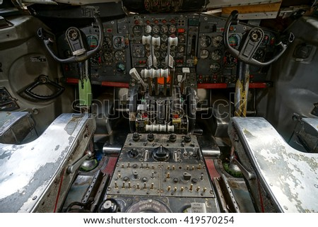 vintage aircraft cockpit showing controls