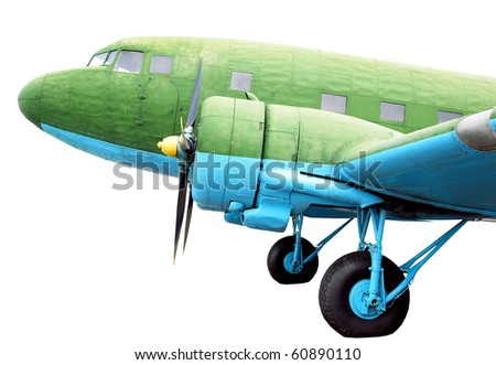 Vintage aircraft, isolated on white - stock photo