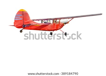vintage aircraft isolated on white background. This has clipping path. - stock photo