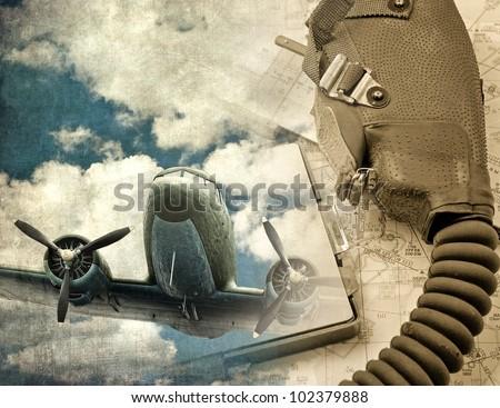 Vintage aircraft, retro aviation background - stock photo