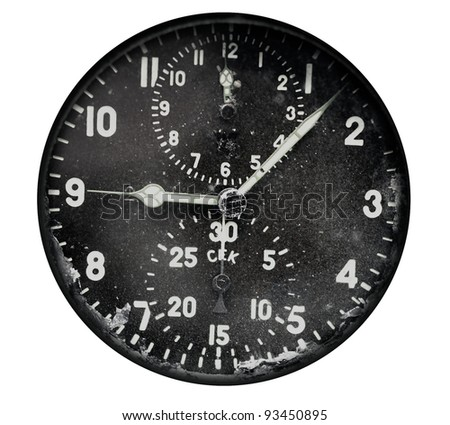 Vintage airplane clock isolated on white background - stock photo