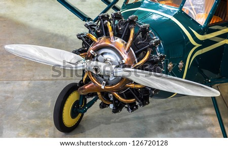 Vintage airplane close up.  Restored 1930 Stinson Detroiter - stock photo