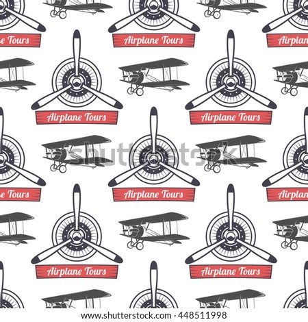 Vintage airplane tour pattern. Biplane propellers seamless background with ribbon, biplanes. Retro Plane wallpaper and design elements. Aviation style. Fly propeller, old icon, isolated. . - stock photo