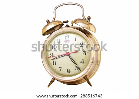 Vintage alarm clock isolated