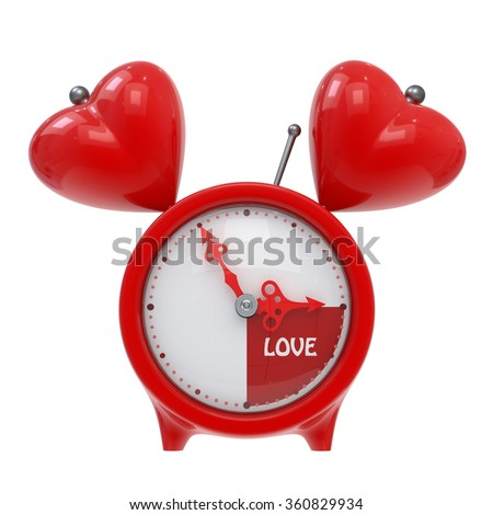 """Vintage alarm clock, isolated on white background. The concept of """"time to love"""". 3d illustration. - stock photo"""