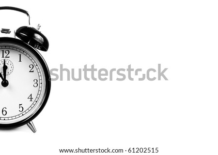Vintage Alarm Clock isolated on white in black and white - stock photo