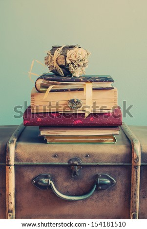 Vintage Albums on an Old Trunks, vertical, pastel color - stock photo