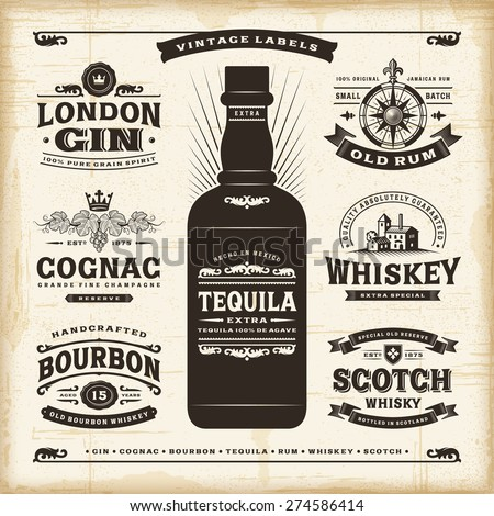 Vintage alcohol labels collection - stock photo