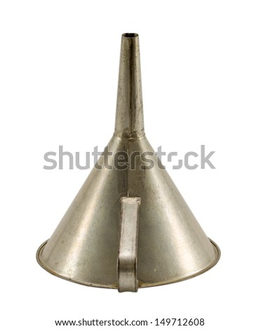 vintage aluminium metal funnel hopper tool isolated on white background.  - stock photo