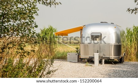 Vintage america mobile home on a camping site in the Netherlands - stock photo