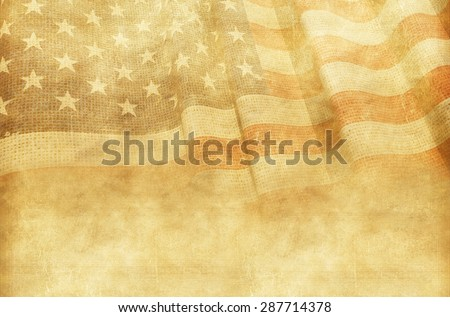 Vintage American Background with Canvas American Flag. - stock photo