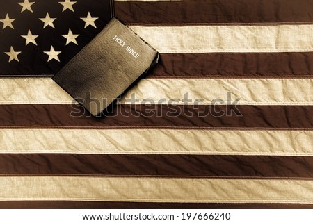 Vintage American Flag and King James Bible.  - stock photo