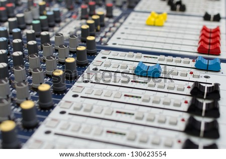 Vintage amplifier close up, old and very dust audio system - stock photo