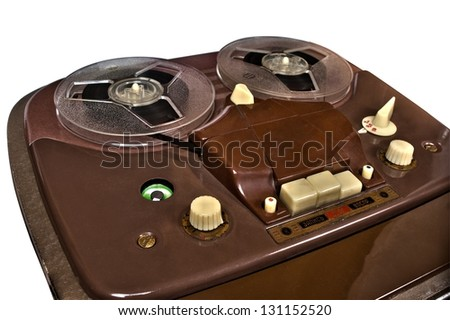 vintage analog recorder reel to reel on white background - stock photo