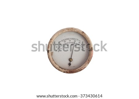 Vintage Analog Round Thermometer - stock photo
