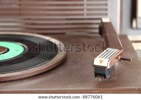 vintage analog turntable from the seventies - stock photo