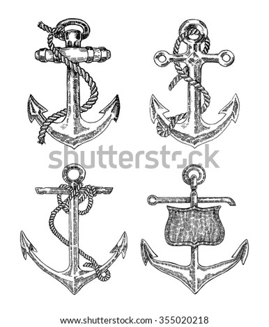 Vintage anchor graphic on white background. Hand drawn vector ... Vintage Anchor Drawing