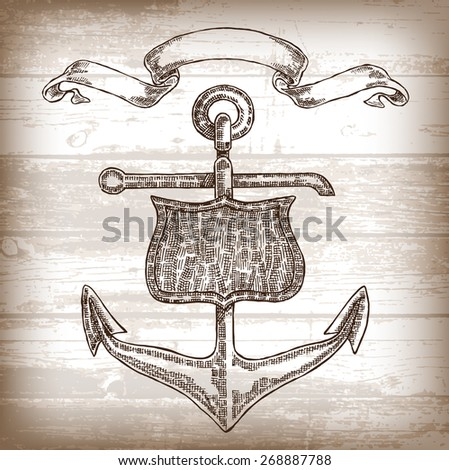 Vintage anchor graphic on wooden background. Hand drawn illustration - stock photo