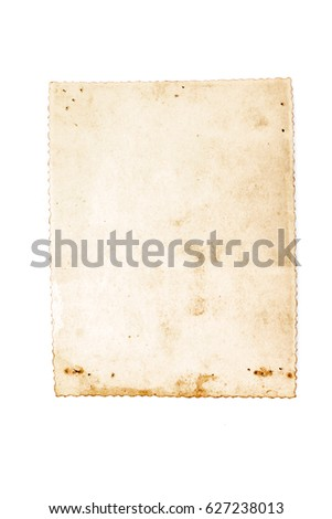 Vintage and antique art concept. Front view of blank old aged paper sheet as dirty frame with stains isolated on a white background. Detailed closeup studio shot.