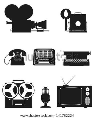 vintage and old art equipment set icons black silhouette video photo phone recording tv radio writing illustration isolated on white background - stock photo